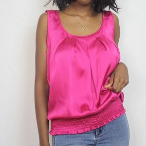 Pink Pleated Satin Scrunch Blouse S